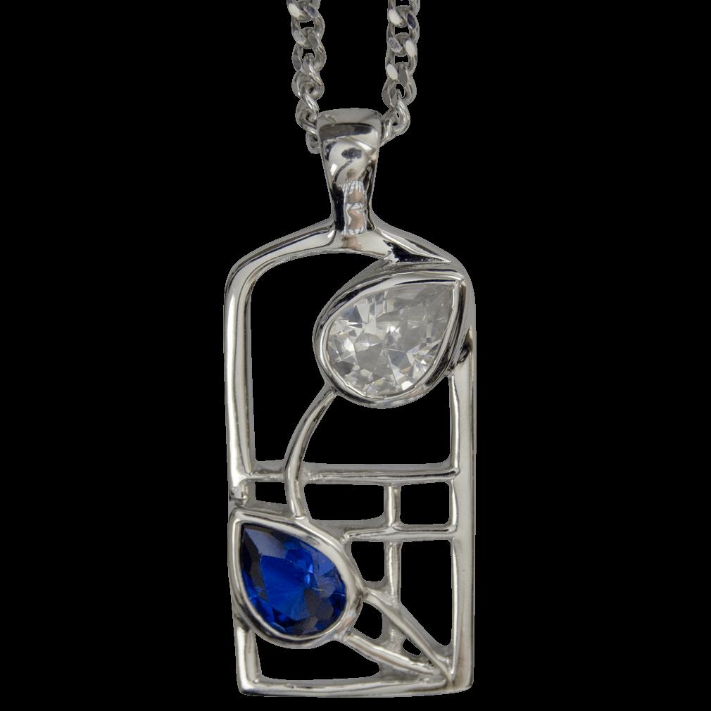 """604 Cairn® Sterling silver Charles Rennie Mackintosh necklace """"Saltire"""""""
