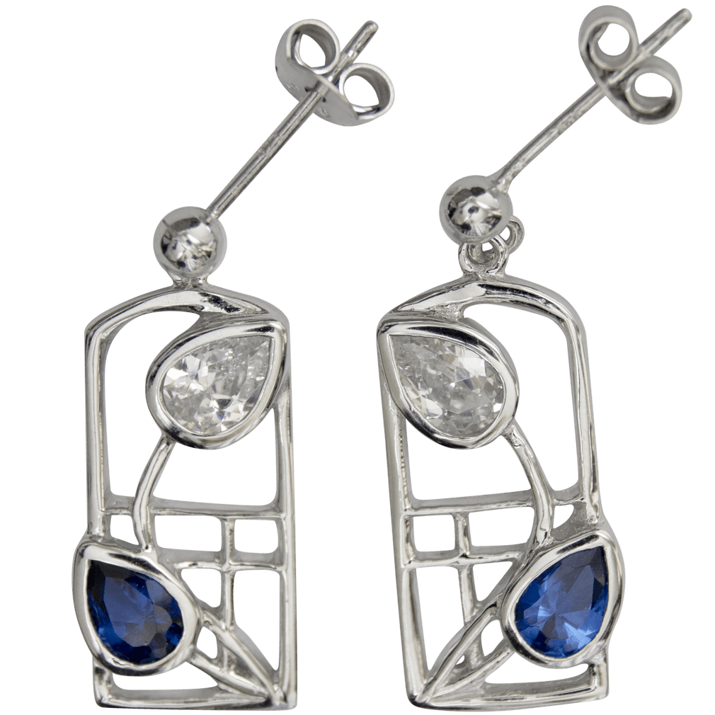 "605 Cairn® Sterling silver Charles Rennie Mackintosh earrings ""Saltire"""