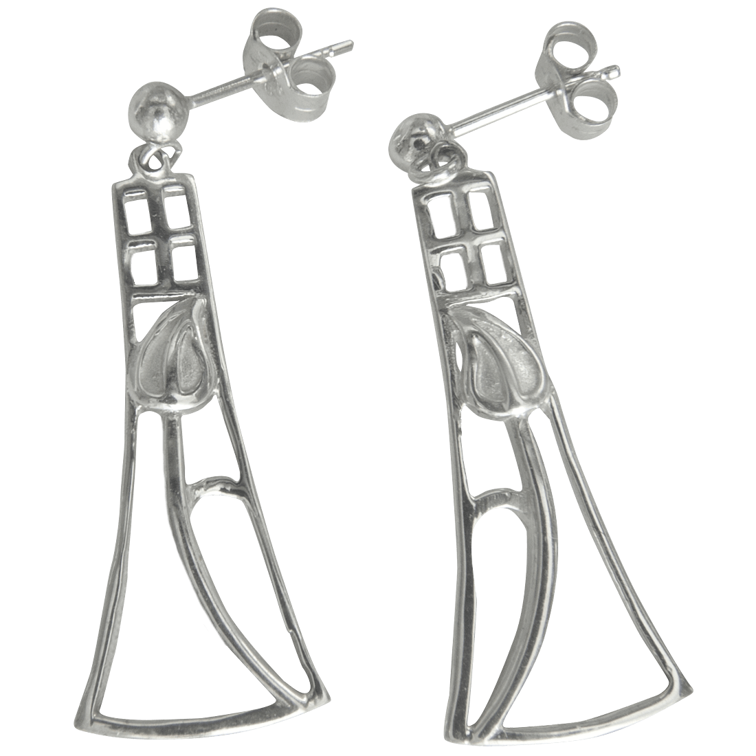 "632 Cairn® Sterling silver Charles Rennie Mackintosh earrings ""Frances"""