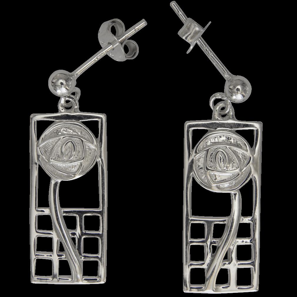 "742 Cairn® Sterling silver Charles Rennie Mackintosh earrings ""Margaret"""