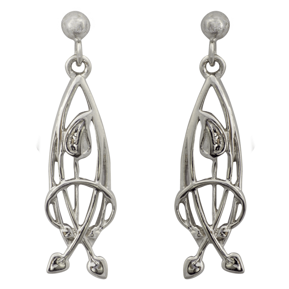 "754 Cairn® Sterling silver Charles Rennie Mackintosh earrings ""Flourish"""