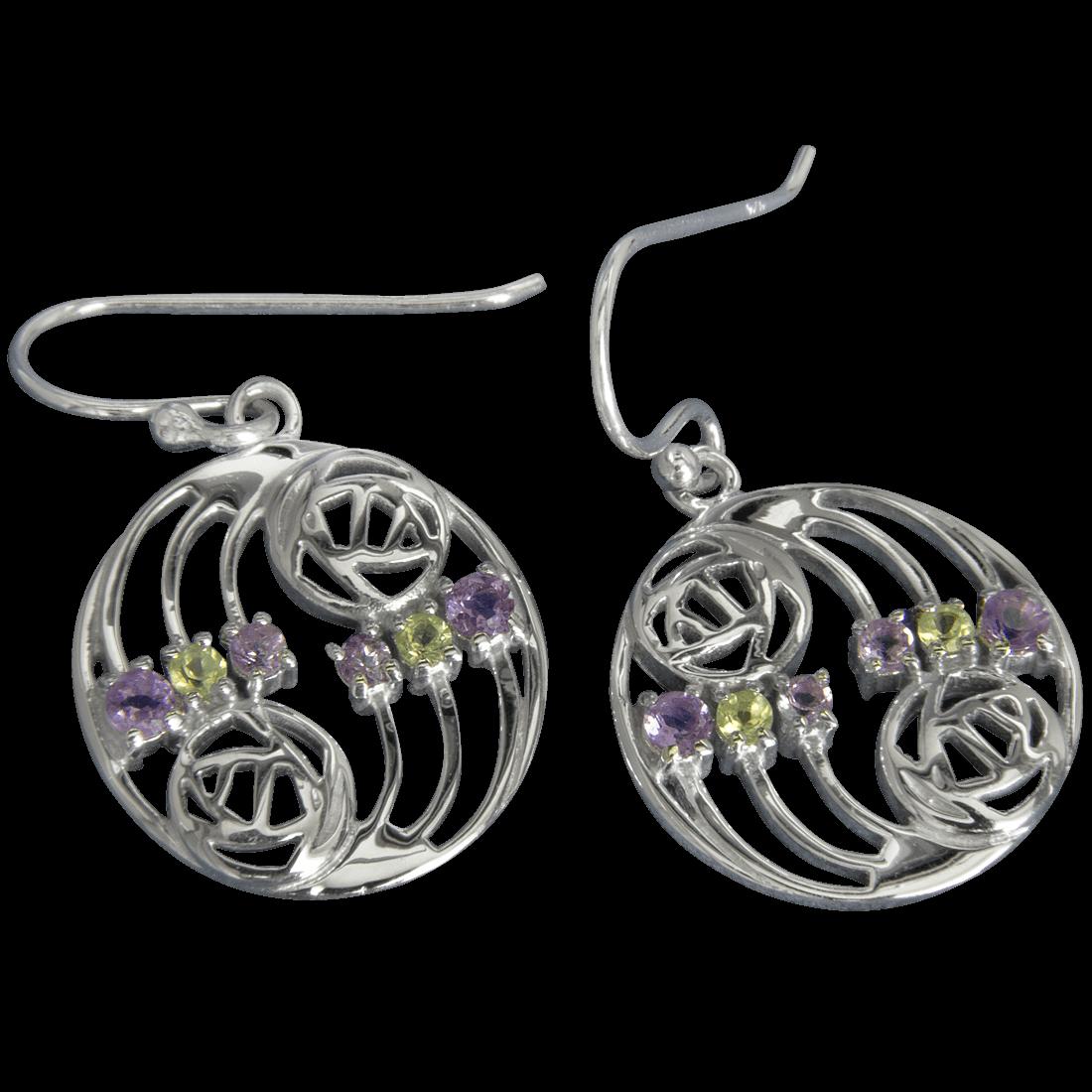 "776 Cairn® Sterling silver Charles Rennie Mackintosh earrings ""Glasgow"""