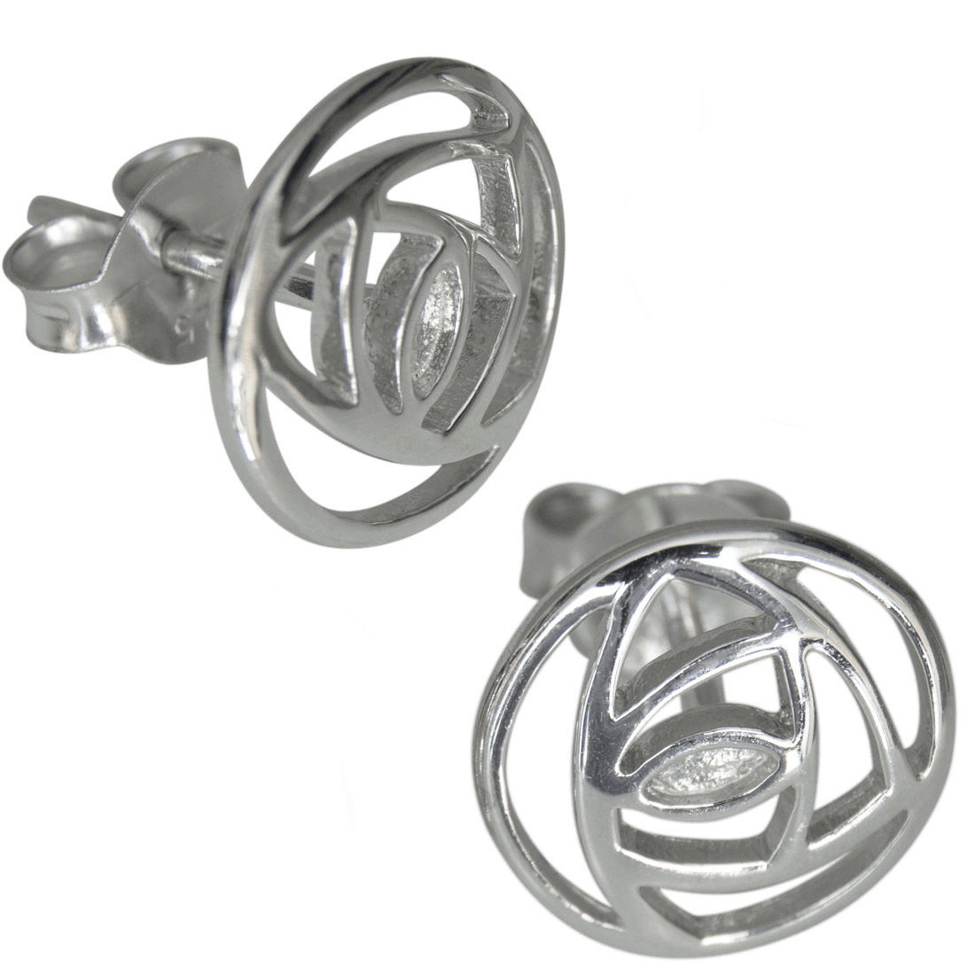 "791 Cairn® Sterling silver Charles Rennie Mackintosh stud earrings ""Mains Roundel"""