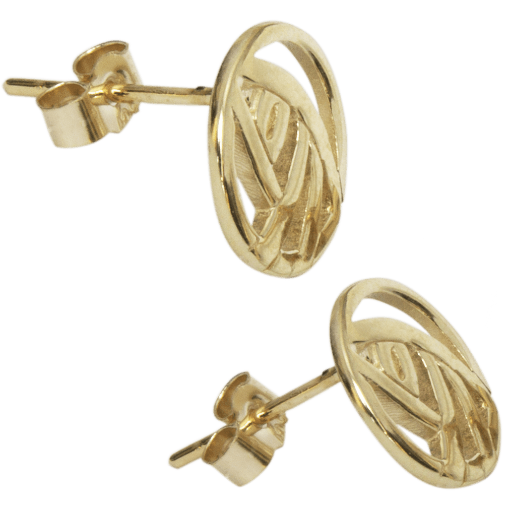 "792G Cairn® 9ct gold Charles Rennie Mackintosh stud earrings ""Style."""