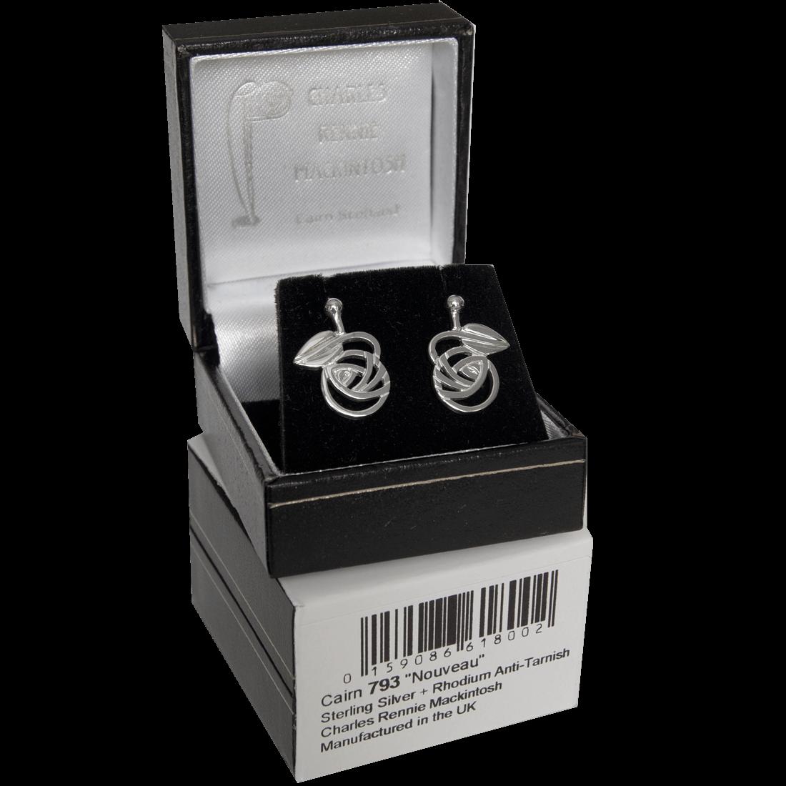 "793 Cairn® Sterling silver Charles Rennie Mackintosh stud earrings ""Nouveau"""