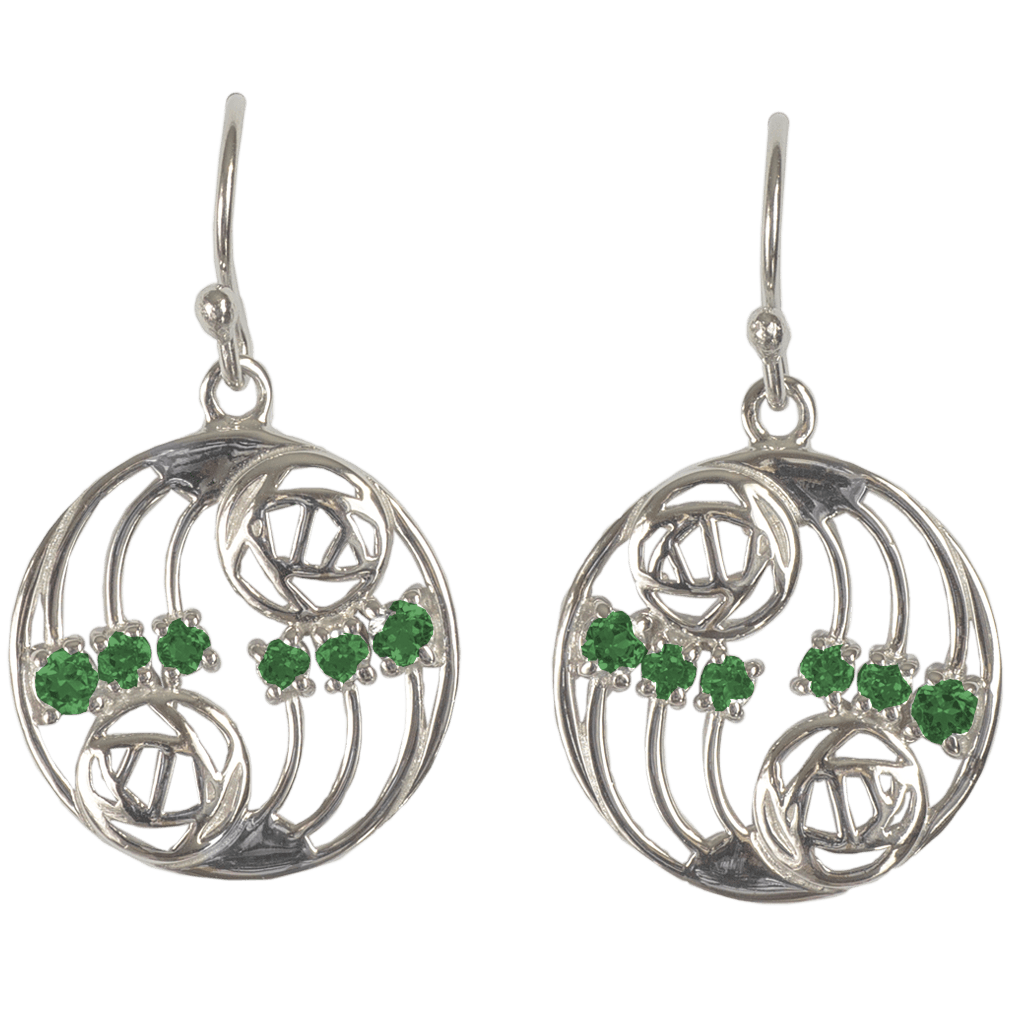 "808 Cairn® Sterling silver Charles Rennie Mackintosh earrings ""Glasgow"""
